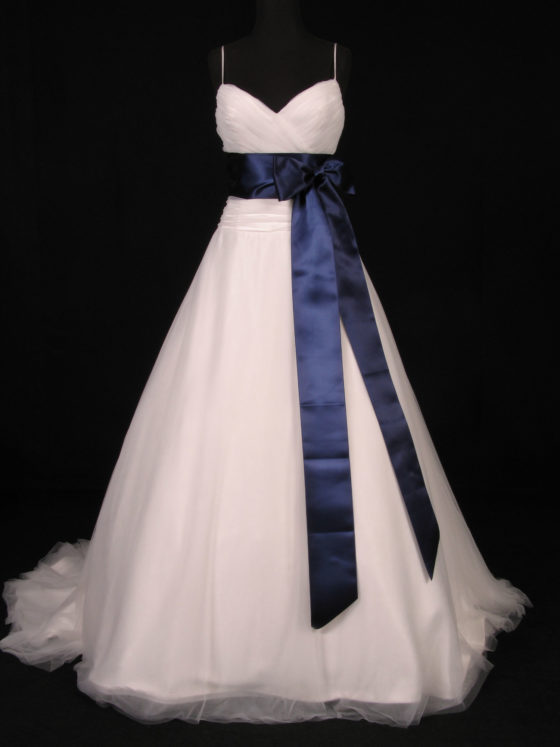 Navy Double Faced Satin Ribbon Sash Belt