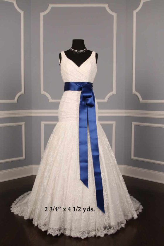 Deep Blue Double Faced Satin Ribbon Sash
