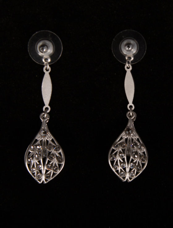 Paris Dance Machine Silver Bridal Earrings